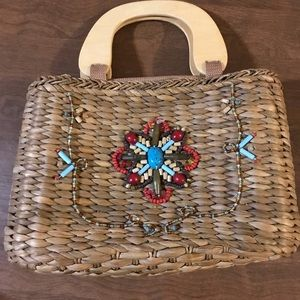Handbags - Straw bag with beads